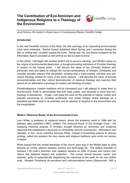 The Contribution of Eco-feminism and ... - Redcliffe College