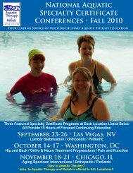 National Aquatic Specialty Certificate Conferences • Fall 2010