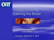 HOPE Invoicing: Calming the Beast