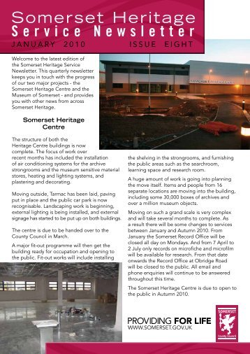 Heritage newsletter, January 2010 - Somerset County Council