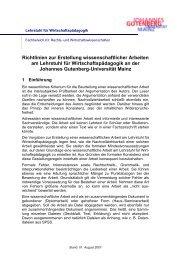 Richtlinien zur Erstellung wissenschaftlicher Arbeiten am Lehrstuhl für