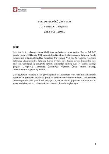 Turizm Sektör Çalıştay Raporu - Batı Karadeniz Kalkınma Ajansı