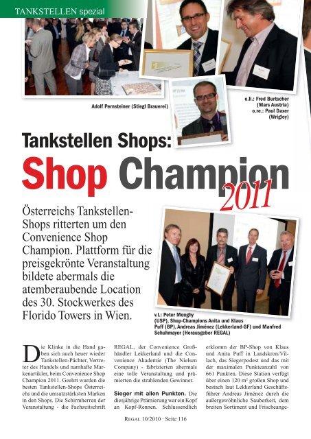 Tankstellen Shops: Shop Champion  2011 - Regal