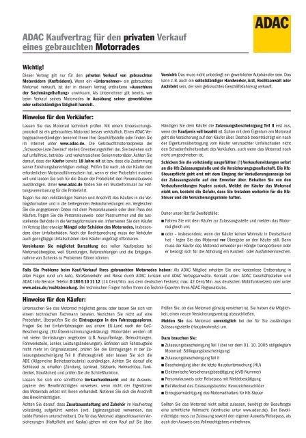 Adac Kaufvertrag Für Den Privaten Verkauf Eines Gebrauchten