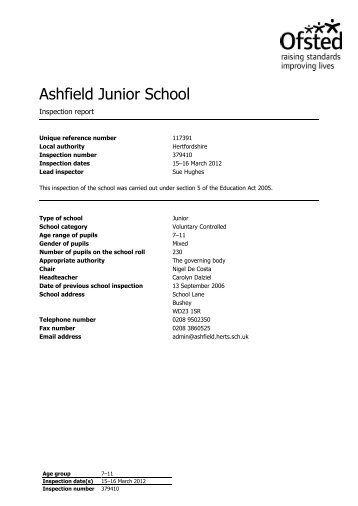 Ofsted Inspection Report - March 2012 - Ashfield Junior School