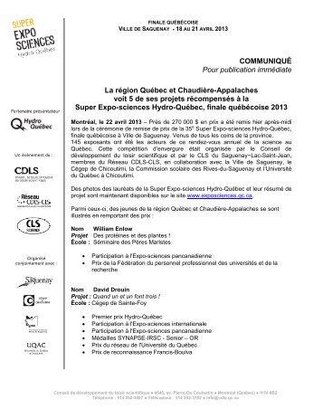 Consultez le communiqué en format pdf - Expo-sciences