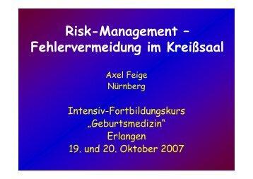 Feige: Risikomanagement - Fehlervermeidung - Frauenklinik