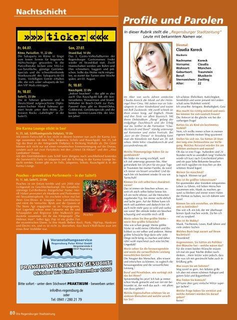 Profile und Parolen - Regensburger Stadtzeitung