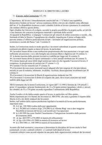 IL DIRITTO DEL LAVORO 1) Il lavoro nella Costituzione (13, 14)