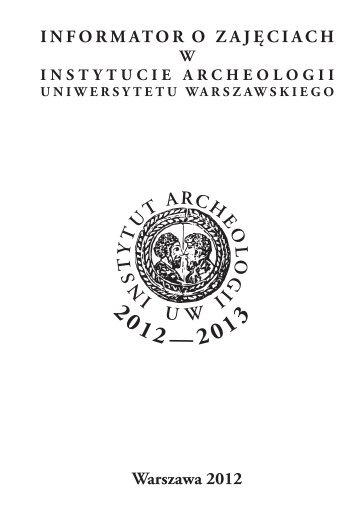 STUDIA ZAOCZNE - Instytut Archeologii Uniwersytetu Warszawskiego