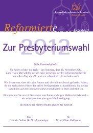 2012 Reformierte Extrablatt Zur Presbyteriumswahl Liebe ...
