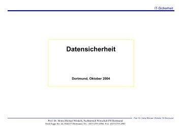Datensicherheit - Prof. Dr. Heinz-Michael Winkels