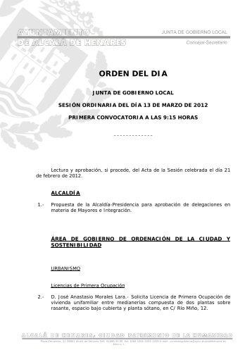 Orden del Día de la Sesión Ordinaria del 13 de Marzo de 2012