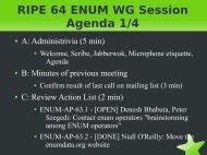 RIPE 64 ENUM WG Session Agenda 1/4