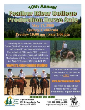 2008 Horse Sale Catalog Final - Feather River College