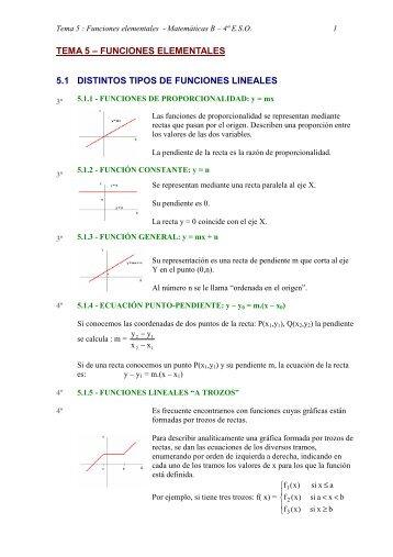 TEMA 5 – FUNCIONES ELEMENTALES 5.1 DISTINTOS TIPOS DE ...