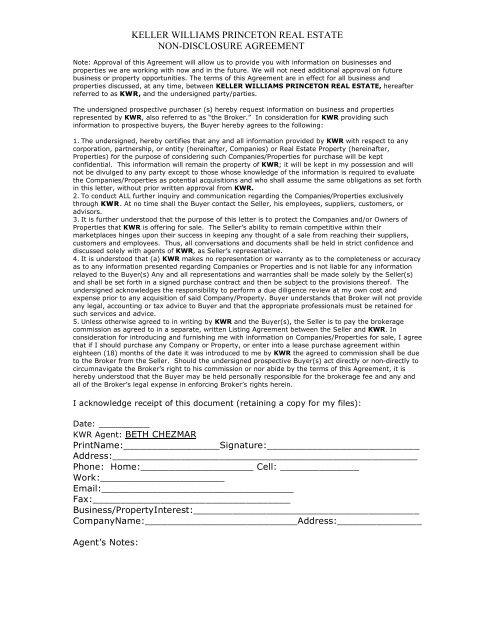 Keller Williams Princeton Real Estate Non Disclosure Agreement
