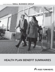 HEALTH PLAN BENEFIT SUMMARIES - Kaiser Permanente Group ...