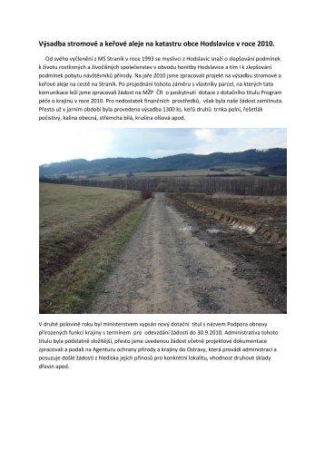 (Výsadba stromové a keřové aleje na katastru obce Hodslavice v)