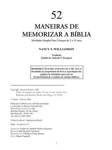 MANEIRAS DE MEMORIZAR A BÍBLIA - Edições Vida Nova