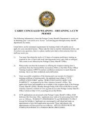 carry concealed weapons – obtaining a ccw permit - Streetsboro