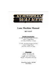 Lane Machine Manual - Bowltech Danmark A/S