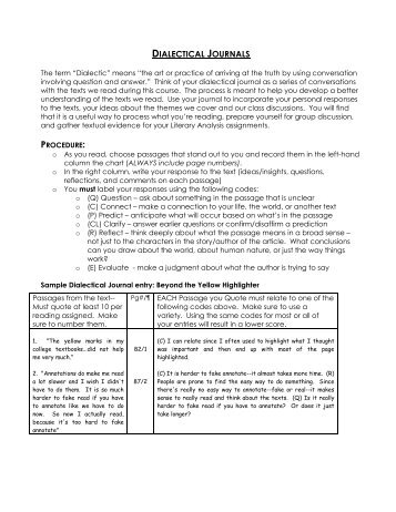 dialectical journals for the awakening Dialectical journals on the awakening to the max: the awakening ch 1 10 dialectical journals, at a very early life she apprehended instinctively the dual life that outward existence which conforms, the.