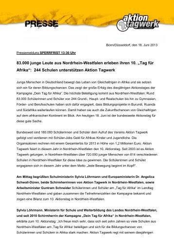 Nordrhein-Westfalen - Aktion Tagwerk
