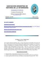 ASOCIACION ARGENTINA DE HISTORIA DE LA VETERINARIA