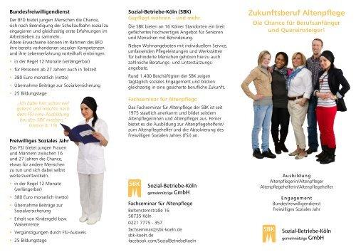 Flyer Zukunftsberuf Altenpflege - Sozial-Betriebe-Köln
