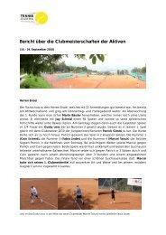 Bericht über die Clubmeisterschaften der Aktiven