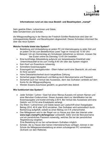 """Informationen rund um das neue Bestell- und Bezahlsystem """"mampf"""""""