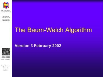 The Baum-Welch Algorithm - University of Birmingham