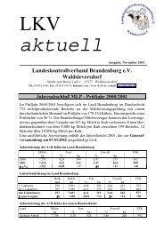 Jahresleistung der A+B-Kühe im Land Brandenburg