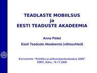 Teadlaste mobiilsus - Eesti Maaviljeluse Instituut