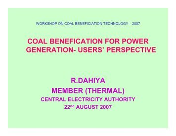 Coal Beneficiation for Power Generation - Office of Fossil Energy