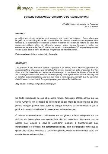 ESPELHO CONVEXO: AUTORRETRATO DE RACHEL ... - anpap