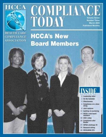 HCCA's New Board Members - Health Care Compliance Association
