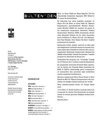 bülten 76 (pdf) - Bilim ve Sanat Vakfı