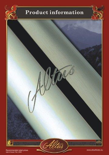 Product information - Altus Flutes