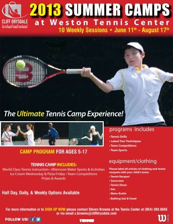 2013 SUMMER CAMPS - Cliff Drysdale Tennis