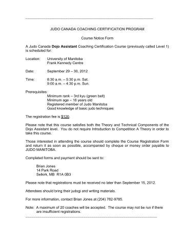 JUDO CANADA COACHING CERTIFICATION ... - Judo Manitoba