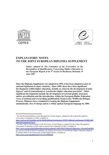explanatory notes to the joint european diploma supplement