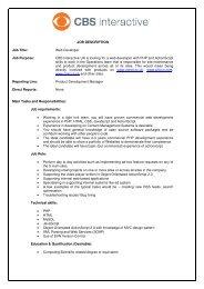 JOB DESCRIPTION Job Title: Web Developer Job Purpose: CBS ...
