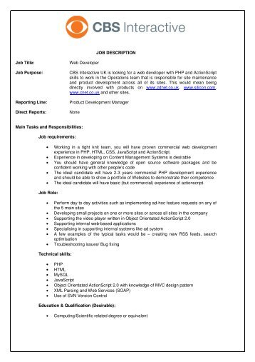 Web Developer Job Description. Web Designer Web Developer Job ...