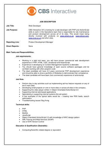 Web Developer Job Description Junior Software Developer Job