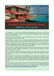 Exclusive Villas in Bali Offer Better Holidays Than Hotels