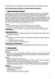 Hinweise zur Anfertigung einer schriftlichen wissenschaftlichen ...