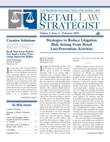 Strategies to Reduce Litigation Risk Arising From ... - Blank Rome LLP