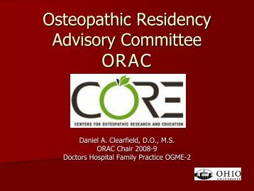 Osteopathic Residency Advisory Committee - Center for Osteopathic ...